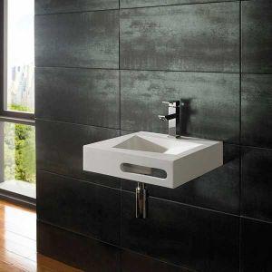 Wall Hung White Stone Resin Square Modern Bathroom Basin 400mm DUNE