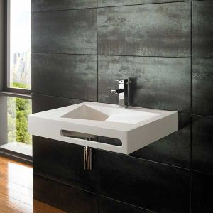 Modern Stone Resin Wall Mounted Rectangular Basin 600mm x 500mm DUNE