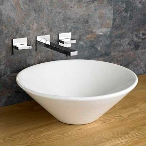 Round Countertop Bathroom Basin in White Ceramic 420mm Diameter Wash Bowl Dia Fano
