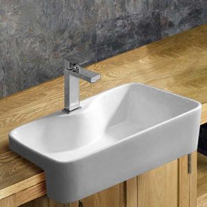 Semi Recessed White Rectangular Bathroom Washbasin 485mm x 375mm FOGGIA