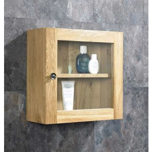 Solid Oak Wall Mounted Single Door Bathroom Glass Cabinet