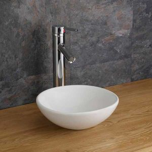 White Round Small Cloakroom or Ensuite Basin Bowl 285mm Diameter GELA