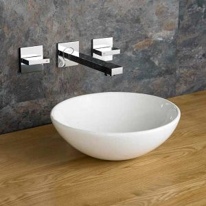 285mm Round Gela Ceramic Small Cloakroom Basin With Quadrato Straight Wall Mounted Tap and Waste Set