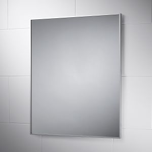 Metz Wall Mounted 600mm Square Stainless Framed Bathroom MIrror