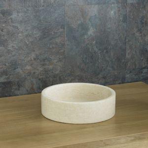 Small Round Cream Limestone Natural Stone Hand Basin 320mm x 80mm PADUA