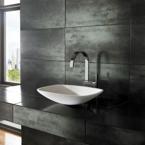 Counter Top Rectangle White Smooth Stone Resin Basin 455mm x 335mm AERO