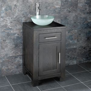 Square Bathroom Dark Oak Vanity Unit + Frosted Round Basin Set ALTA45W