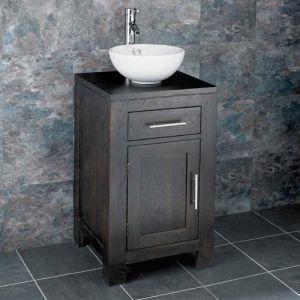 Freestanding Wenge Dark Oak Vanity Unit +  Round Sink Set ALTA45W