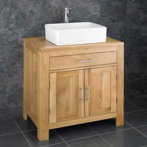 Large Two Door Oak Bathroom Vanity Set 750mm + Choice of Basin Set ALTA75