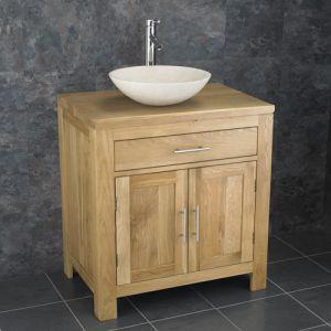 Double Door Natural Oak Bathroom Cabinet + Cream Stone Bowl Set ALTA75