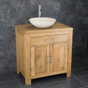 Double Door Natural Oak Bathroom Cabinet + Cream Stone Bowl Set ALTA75