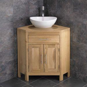 Large Oval Bathroom Basin + Double Door Oak Corner Cabinet Unit ALTAL