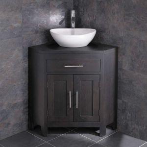 Alta Solid Wenge Oak Corner Bathroom Cabinet
