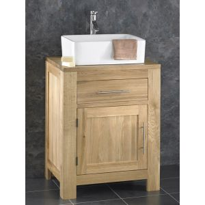 Solid Oak Bathroom Vanity Cabinet 60cm wide + Basin Set ALTA60