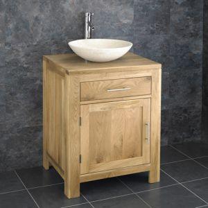 Solid Oak Double Door Bathroom Basin Cabinet With Portici Stone Basin