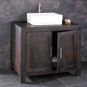 Alta Solid Oak Double Door Bathroom Cabinet With Basin