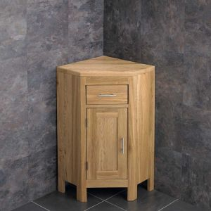 Corner Cloakroom Vanity Cabinet Solid Natural Oak with Internal Shelf ALTAS