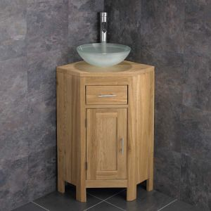 Small Corner Oak Vanity Unit + Round Frosted Glass Basin Bowl Set ALTAS