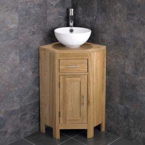 Small Corner Bathroom Vanity Cabinet + Round Basin Bowl Set ALTAS