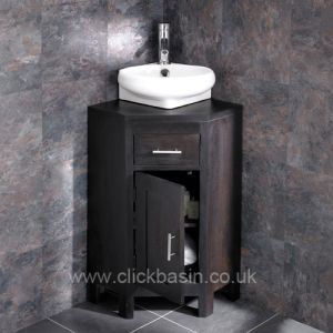 Corner Dark Oak Wenge Vanity Cabinet + Cesena Basin Set ALTASW