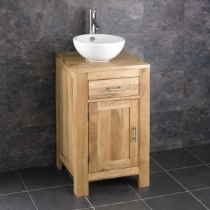 Cloakroom Square Oak Storage Cabinet 450mm + Round Basin Set ALTA45