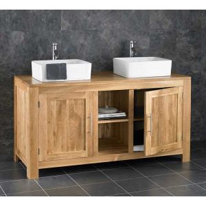 Alta Solid Oak Double Basin Vanity Unit