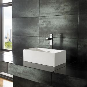 Slim Countertop Rectangle White Stone Resin 450mm x 250mm Basin ALTO