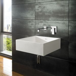 Large Wall Hung White Stone Resin Square Bathroom Basin 465mm ALTO