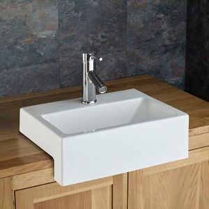 Semi Recessed Counter Mounted White Bathroom Sink 430mm x 330mm ANADIA