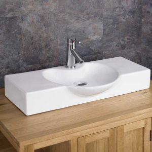 Large White Above Counter Stylish Bathroom Basin 700mm x 340mm APRILIA