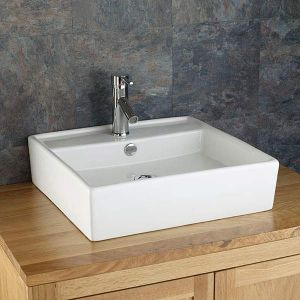 Large Square Above Counter White Bathroom Basin 510mm x 510mm ARSIZIO