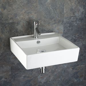 Family Square Wall Hung Modern White Bathroom Sink 510mm ARSIZIO
