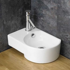 Above Counter White Bathroom Bowl Sink with Overflow Left Hand AVERSA