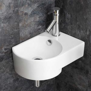 Wall Hung Cloakroom White Sink Overflow Right Hand 400mm x 270mm AVERSA