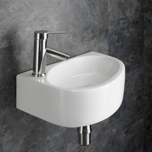 Rectangle Wall Hung Cloakroom Washbasin Sink Left Hand 420mm x 290mm BALSAMO