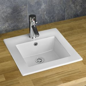 Square Self Rimming Counter Top White Inset Bathroom Sink 420mm BERNE