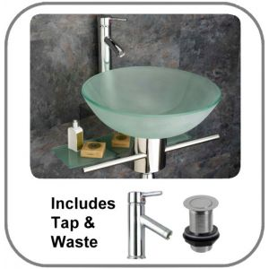 Padova Round Glass Basin and Aluminium Stand