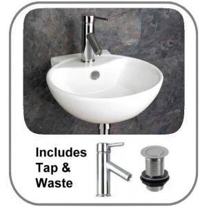 Udine Wall Basin + Tap + Waste Set