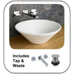 Fano 420mm Round Conical Wash Basin With Quadrato Wall Mounted Tap and Waste Set