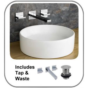 350mm Round Counter Mounted Imola Bathroom Basin With Quadrato Wall Mounted Tap and Waste