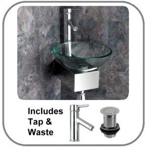 Monza Glass Corner Small Bathroom Basin and Aluminium Stand Set
