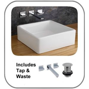 Varese Small 380mm Square Countertop Ceramic Bathroom Wash Basin + Quadrato Wall Tap and Waste
