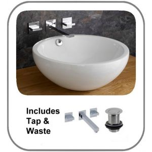 Trento 450mm Diameter Ceramic Round Deep Bathroom Basin With Quadrato Wall Mounted Tap and Waste