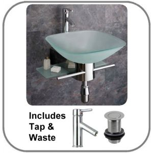 Padova Square Glass Basin and Stainless Steel Stand