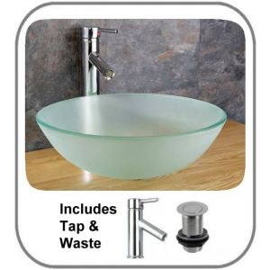 Monza Round Frosted Basin Set