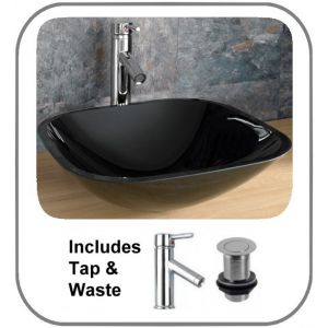 Padova 42 Square Black Basin Set