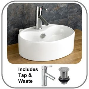 Bitonto Counter Mounted Basin + Tap + Waste Set