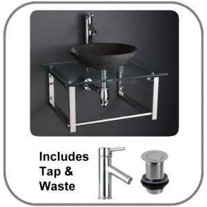 Portici Basin and Glass Shelf Set