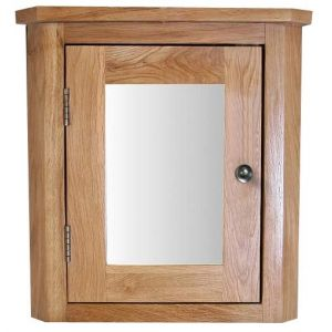 Solid Natural Oak Wall Mounted 450mm High Corner Bathroom Mirror Cabinet