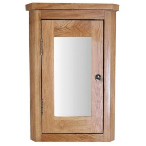 Tall Corner Solid Oak Wall Hung Bathroom Mirror Cabinet 600mm x 425mm